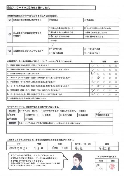 成婚退会アンケート|刈谷市男性
